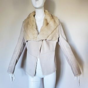 Bebe Faux Fur Cream Jacket